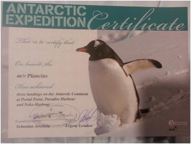 Antartika Keşfimizi Belgeleyen Sertifikamı